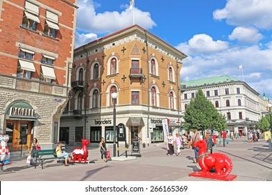 Sundsvall, Sweden - August 2, 2014: Shopping district at Sundvall