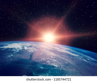 Sunflare and the earth from space. The elements of this image furnished by NASA.