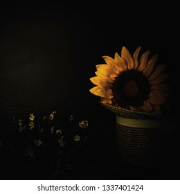 Sunflower, flowers and straw hat on dark background with space for message.