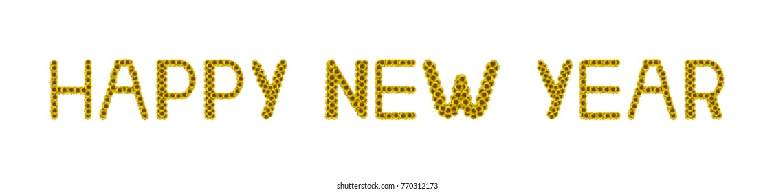 Sunflower letter arrange in the words Happy New Year, clipping path included.
