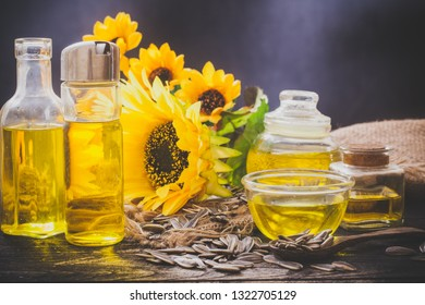 Sunflower oil in bottle glass with seed