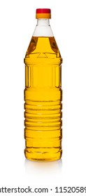 sunflower oil in bottle on white isolated background