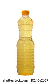 sunflower oil, golden color, in a plastic bottle, on a white background isolated, clipping path