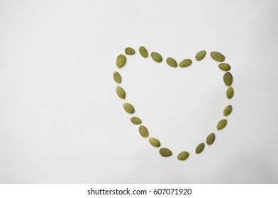 Sunflower Seed Arranged in a Heart Shape
