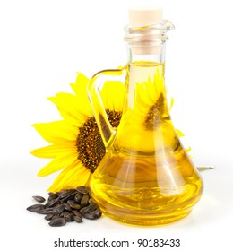 sunflower seed oil isolated on white background