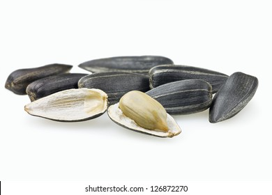 Sunflower seed open on white background