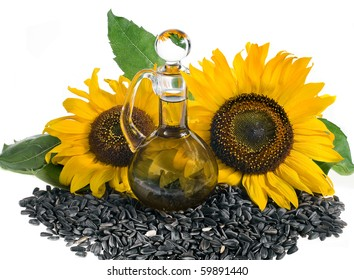 sunflower seeds and glass bottle oil  isolated