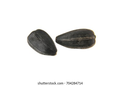 sunflower seeds isolated on white background closeup