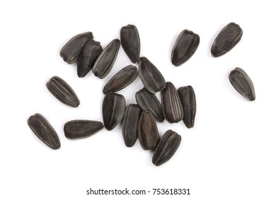 Sunflower seeds isolated on white background. Top view.