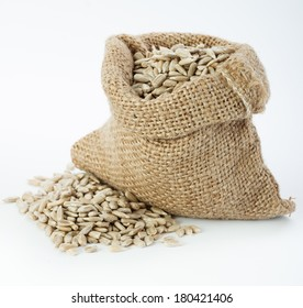 Sunflower seeds in small sack