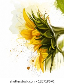 sunflower, watercolor