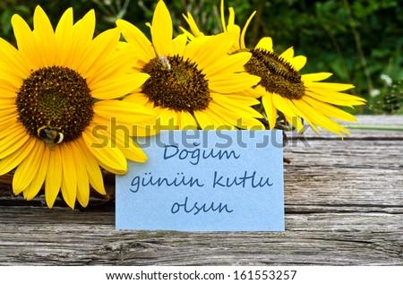 Sunflowers Birthday Cardhappy Birthdayturkish Stock Photo Edit Now