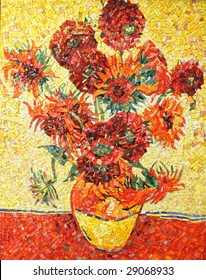 Sunflowers by Vincent van Gogh (imitation) - decorative colorful smalt mosaic