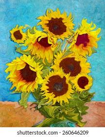 Sunflowers, digital art like imressjonism painting