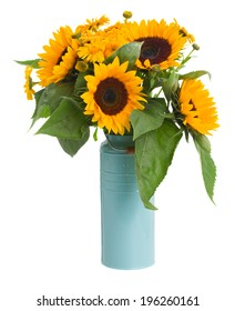 sunflowers and marigold flowers bouquet in blue pot isolated on white background