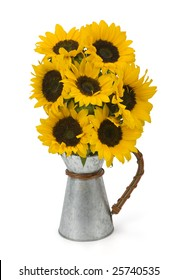 Sunflowers in metal container on white background. Clipping path incl.