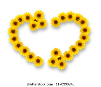 Sunflowers in shape of heart and recycling symbol, isolated on white background.