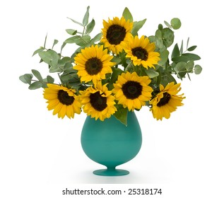 Sunflowers in vase glass on white background. Clipping path incl.