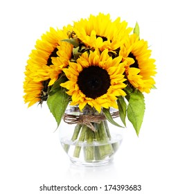 Sunflowers in a  vase over white
