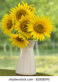 sunflowers in the white vase