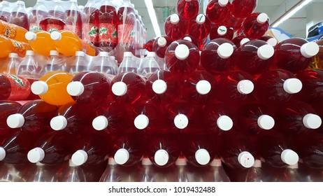 Sungai Buloh, Selangor / Malaysia - February 6 2018 : Mirinda brand soft drink on display at a supermarket shelf. Mirinda is a famous and popular soft drink in Malaysia.