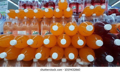 Sungai Buloh, Selangor / Malaysia - February 6 2018 : Mirinda brand soft drink on display at a supermarket shelf. Mirinda is a famous and popular soft drink in Malaysia.