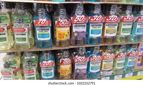 Sungai Buloh, Selangor / Malaysia - February 11 2018: Listerine product with special promotion pack in the Malaysian supermarket.
