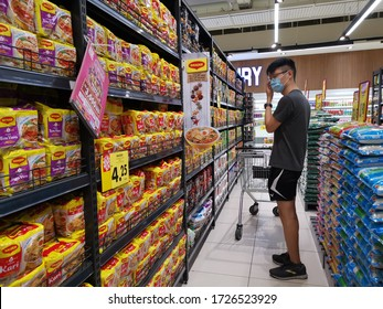 Sungai Buloh, Selangor/ Malaysia- May 9 2020: Shoppers are buying canned products in preparation of more stringent movement control measures.