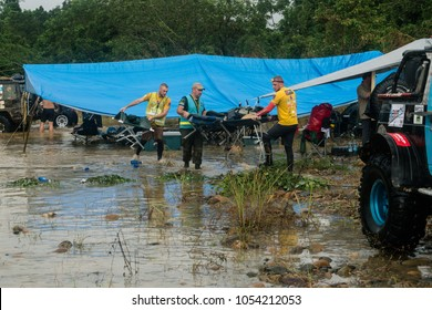 SUNGAI HULU PUKIN, MALAYSIA - DECEMBER 3, 2017: Rainforest Challenge Global Series Finals. Flooded river destroys competitors campsite.