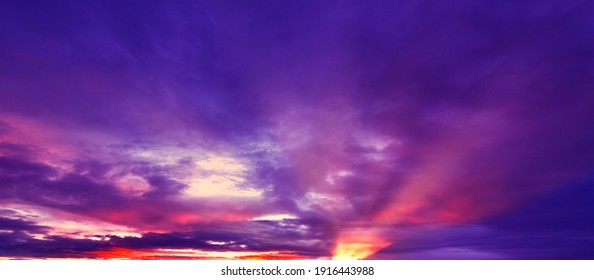 Sungai Penuh, Indonesia - 01 10 2021: Purple-Sunset-Cloud