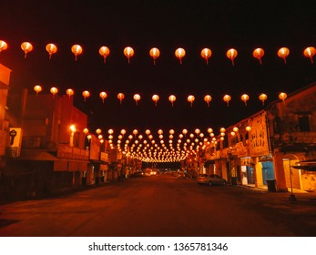 Sungai Petani, Kedah, Malaysia - January 30th 2019: Red tanglong lights fill the streets of Sungai Petani town. Celebrating Chinese New Year's Eve