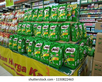 Sungai Petani , Malaysia - 5th August 2018 : Aisle view of Milo packets on the supermarket shelf.Milo is chocolate and malt powder produced by Nestle.Mobile photography