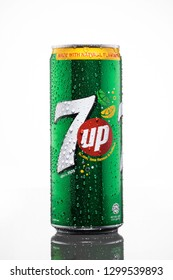 SUNGAI PETANI,MALAYSIA - JANUARY 29TH,2019 : 7 up can with water droplets isolated on white background.