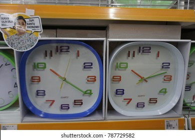 Sungei Wang, Malaysia - January 6th, 2018: Wall watch for sale on rack at Mr DIY. Mr DIY is one of the largest hardware store in Malaysia