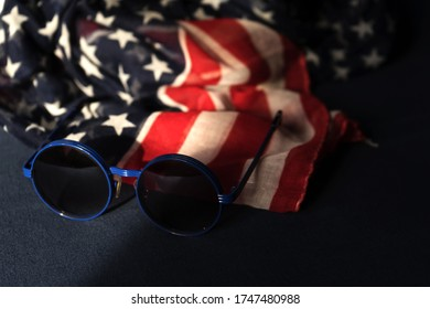 Sunglasses and American Flag 4 July celebration independece day USA.