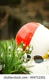 Sunglasses and a beach ball between a lots of galanthus nivalis, concept Spring beginning