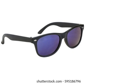 sunglasses, black frame, blue lenses, isolated