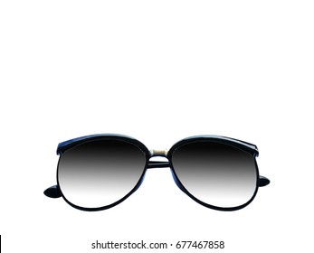 Sunglasses with black lenses  on white background.
