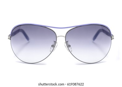Sunglasses with blue iron frame isolated on white