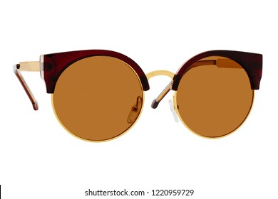 sunglasses with brown Lens isolated on white background