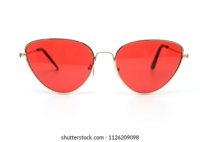 sunglasses cat's eye with red glasses in metal frame isolated on white