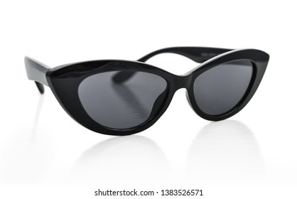 Sunglasses  cat's eye shape, black lenses, isolated on white background with clipping path