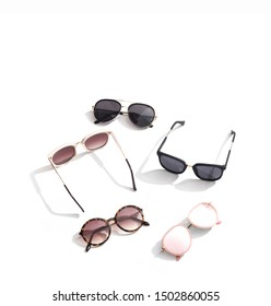 Sunglasses collection set on background