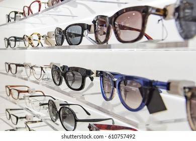 Sunglasses and eye glasses in a store.