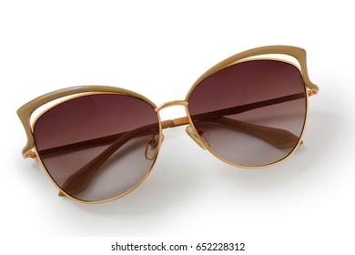 sunglasses ?at's eye on white background