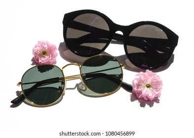 sunglasses with flowers, still life isolated on white