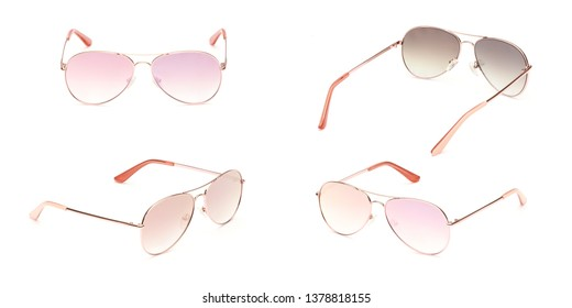 Sunglasses gold frame aviator with multi colored Mirror Lens isolated on white background. Fashionable summer eye glasses collection. Set polarizing sunglasses.