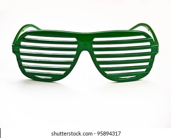 Sunglasses / Green sunglasses isolated on white background / Retro funny style eye wear