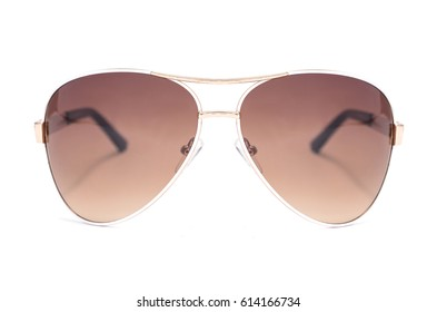 Sunglasses in an iron frame with brown glass isolated on white