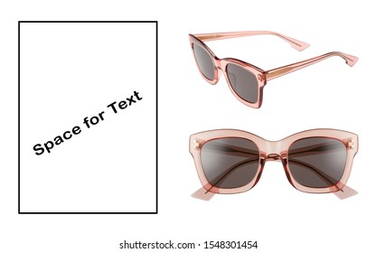 Sunglasses Isolated on White. Pink Sun Glasses with Lenses. Lady Modern Protective Eyewear Shades with Pink Plastic Frames Front and Side View. Girls Eye Protection. Women's Summer Accessories